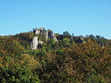 Blick auf die Burgruine Hohengerhausen bei Blaubeuren