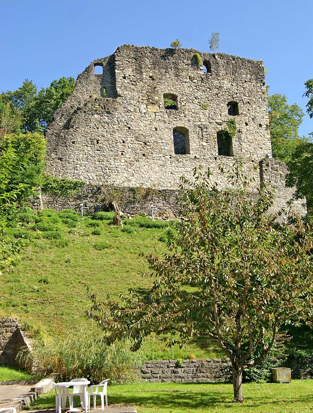 Blick von unten auf die Burgruine Jagdberg in Schlins