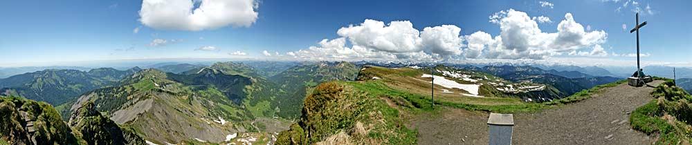 360° Panorama auf dem Gipfel des Hohen Freschen