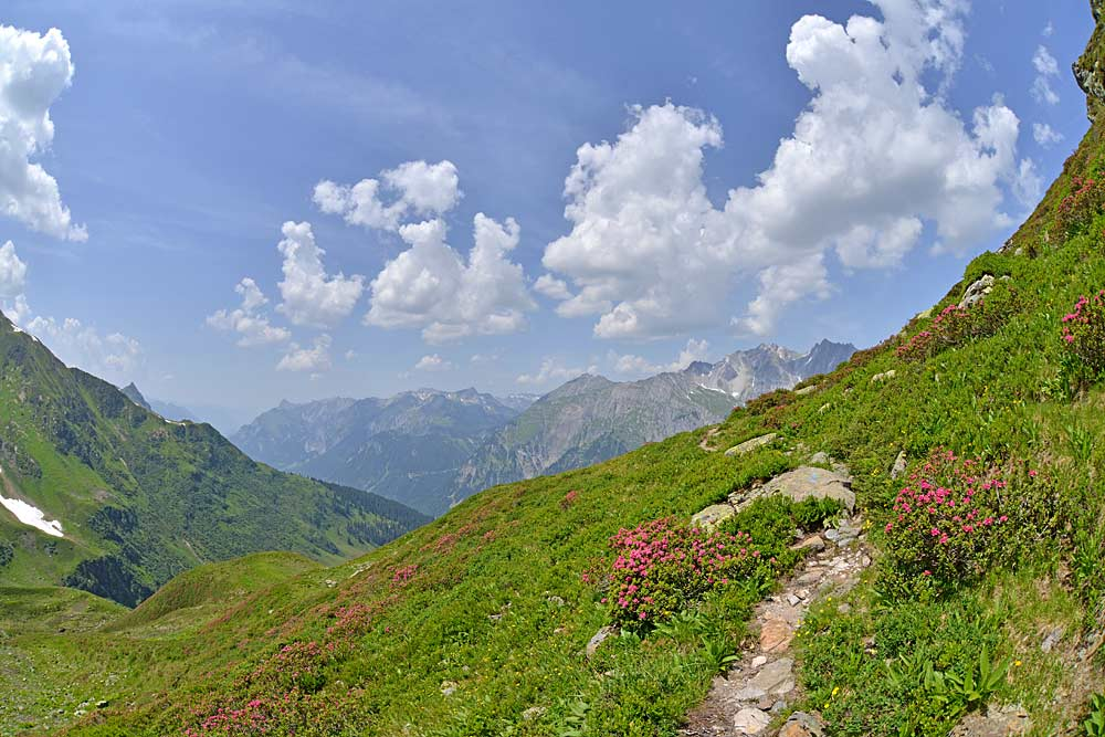 Reutlinger Weg oberhalb der Kaltenberghütte in Stuben am Arlberg
