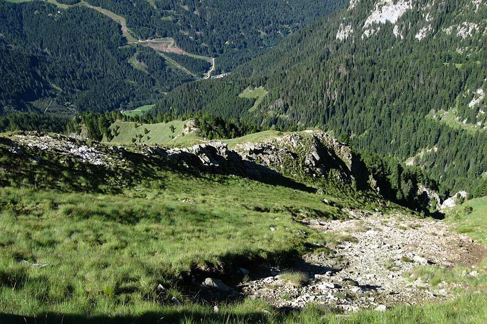 Abtragungen von früherem Mineralienabbau im Fassatal