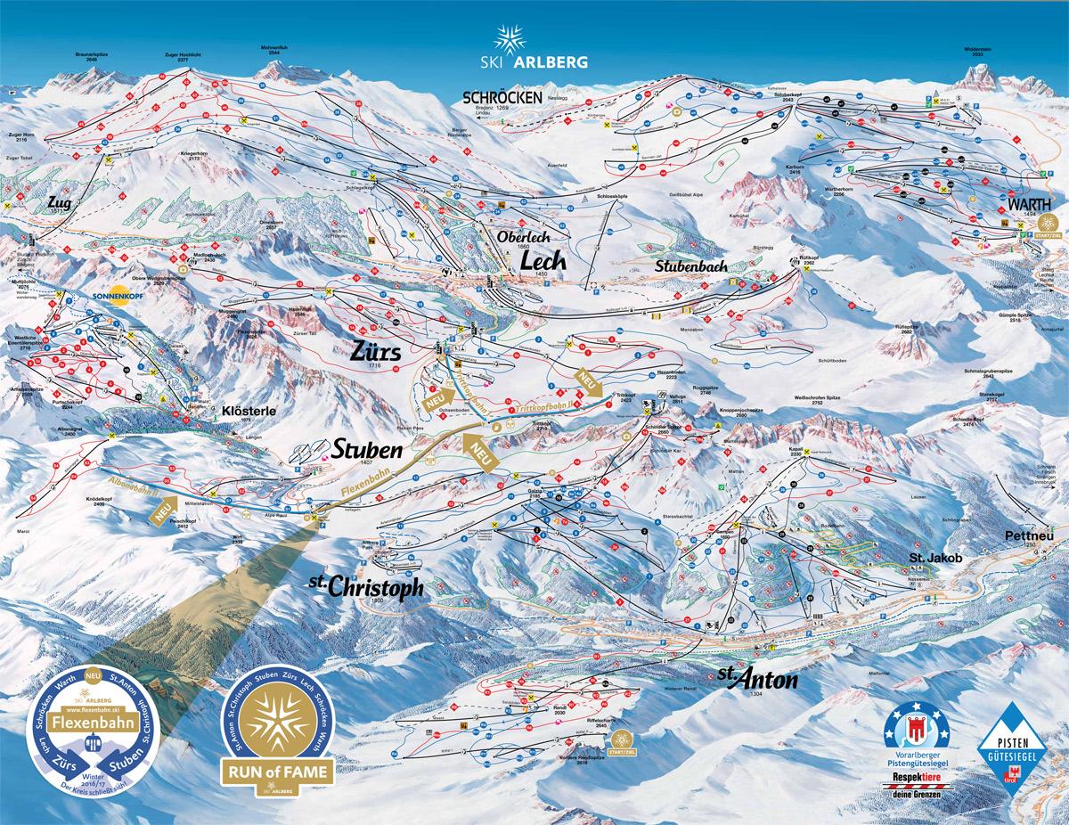 Pistenpanorama Arlberg