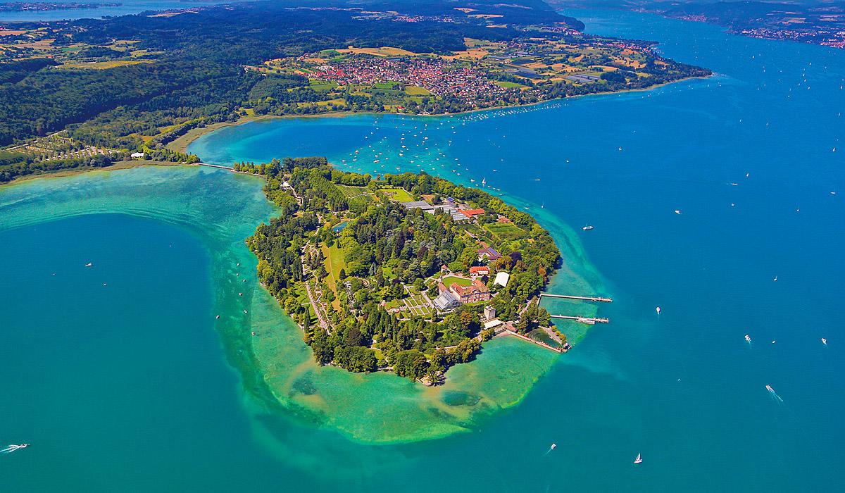 Blick auf die Insel Mainau aus der Luft © Internationale Bodensee Tourismus GmbH / Fotograf: Achim Mende