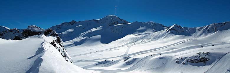 Blick auf das Skigebiet am Kaunertaler Gletscher