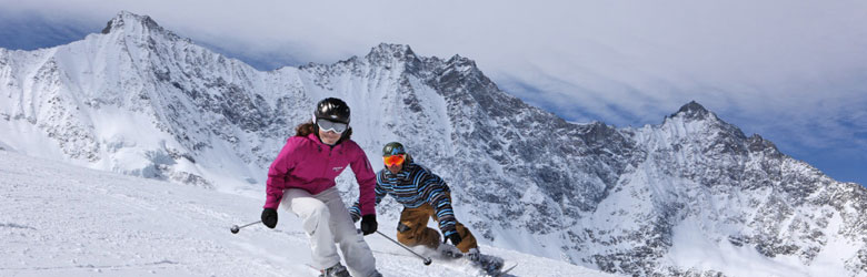 Skifahrer in Saas-Fee