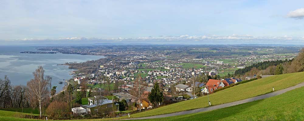 Panorama vom Pfänder auf Lochau, Lindau und Hörbranz