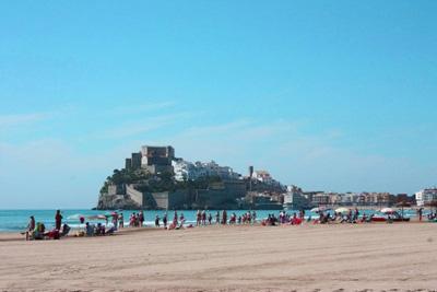 Blick auf die Burganlage von Peníscola an der Costa del Azahar