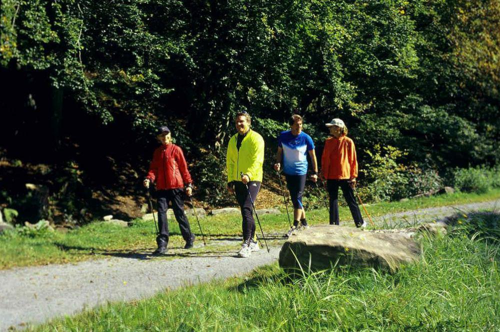 Gäste beim Nordic Walking
