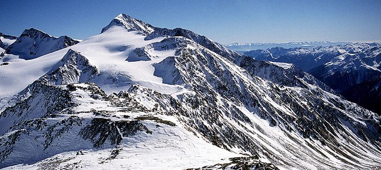 Blick auf den Similaun am Schnalskamm in den Ötztaler Alpen