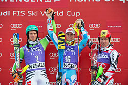 Podest beim Slalom in Wengen 2014