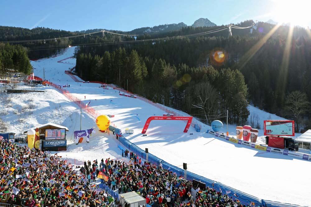 Ziel beim Riesenslalom in Garmisch-Partenkirchen