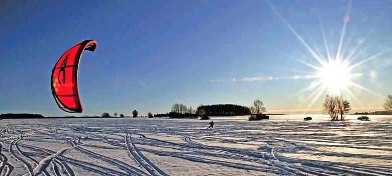 Snowkiten am Irsee