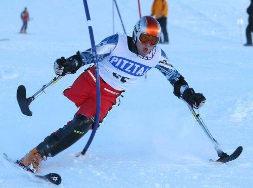 Riesentorlauf Kategorie stehend beim Europacup der Handicapped Sportler am Pitztaler Gletscher