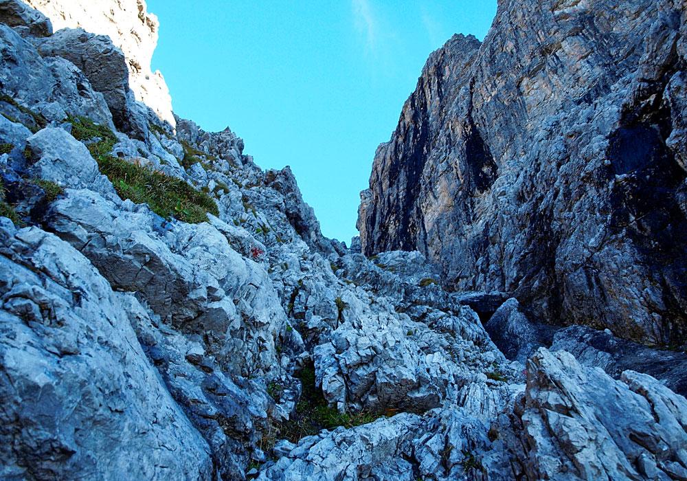 Aufstieg zum Widderstein durch eine Rinne