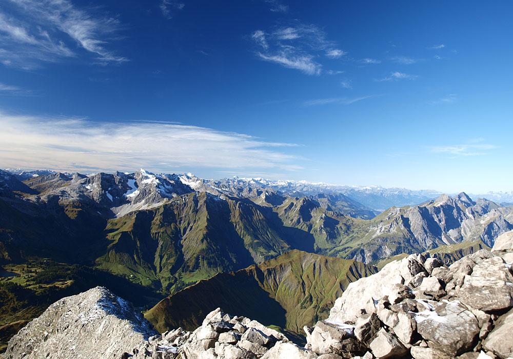 Panorama auf dem Grat des Widderstein