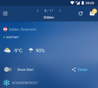Screenshot Schneehoehen Ski App