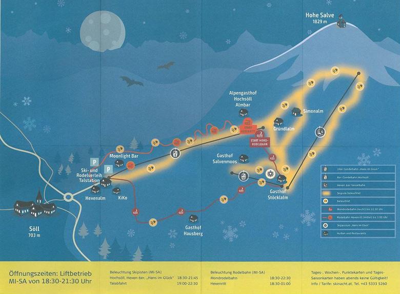 Pistenplan Nachtskilauf in Söll