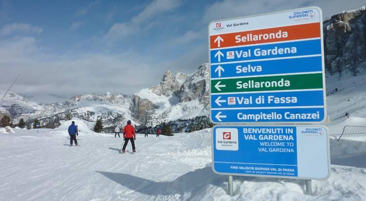 Das Schild der Sella Ronda leitet die Skifahrer im oder gegen den Uhrzeigersinn