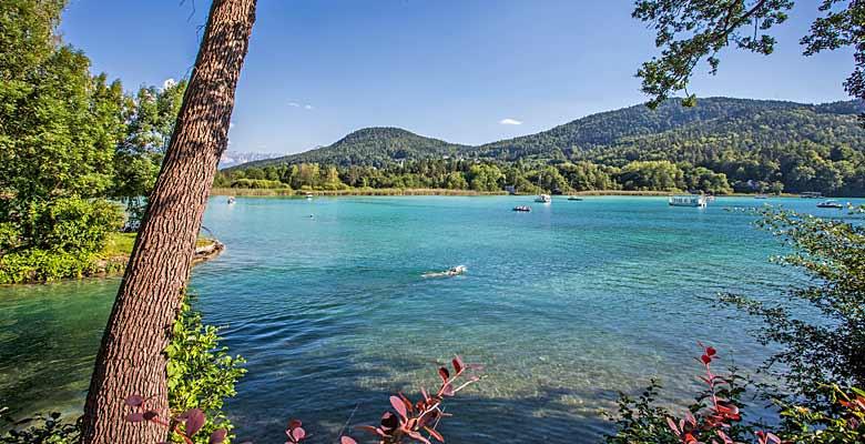 Blick auf Badegäste und Wassersportler am Wörthersee