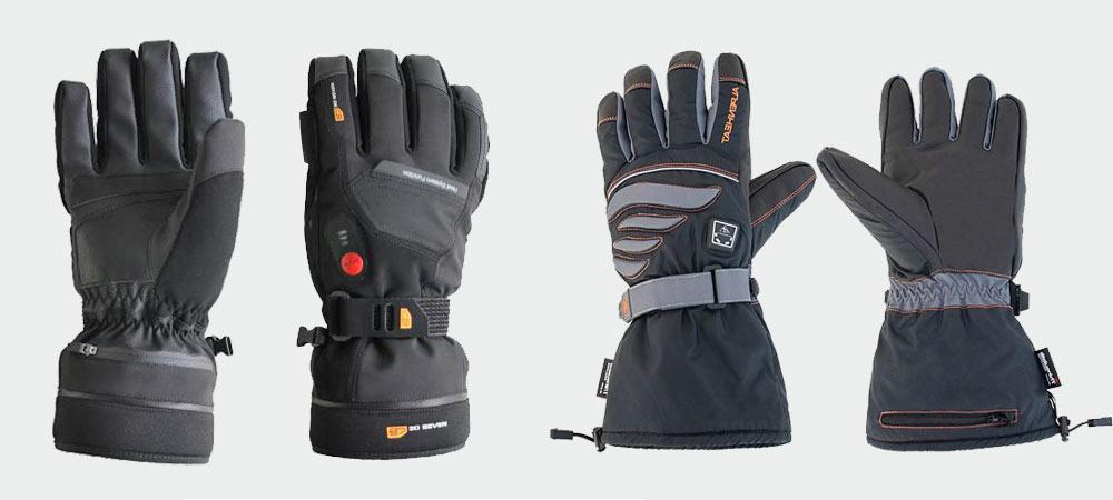 Beheizbare Handschuhe der Marken 30seven (li) und Alpenheat (re)