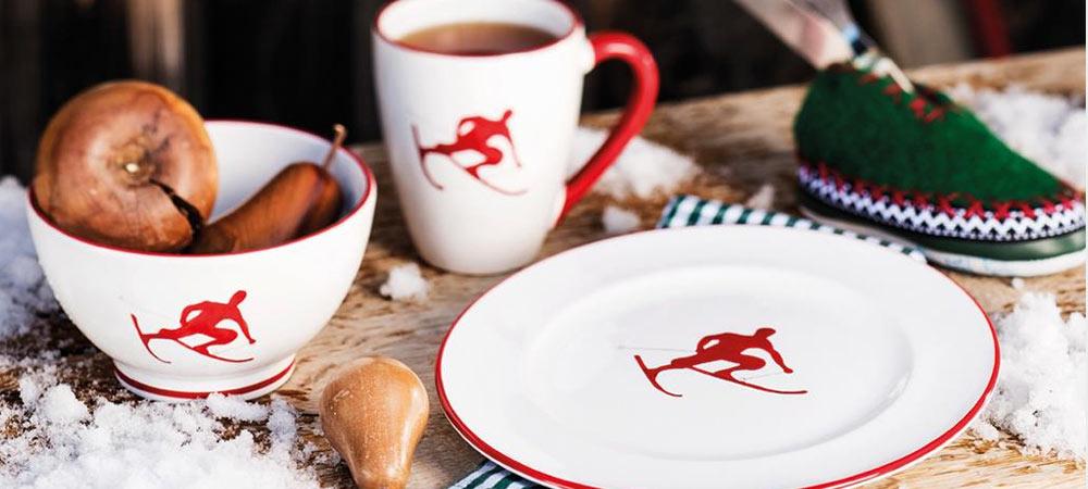 Kaffeetasse, Teller und Müslischale aus der Kollektion Toni der Skifahrer