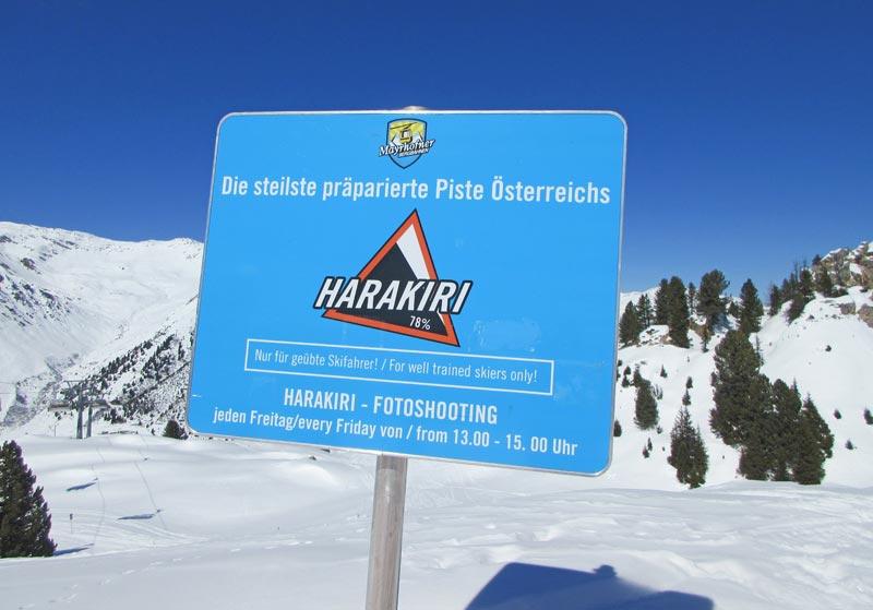 Warnschild an der Harakiri in Mayrhofen