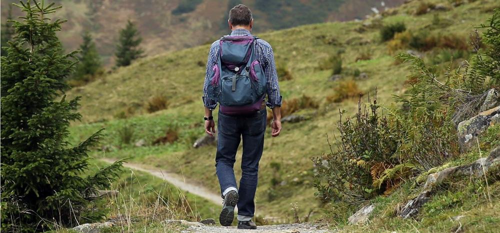 Wanderer von hinten mit Rucksack auf dem Rücken
