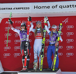 Siegerpodest der Abfahrt in Cortina d'Ampezzo 2016
