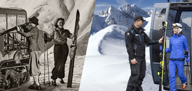 Skifahrer am Arlberg - damals und heute