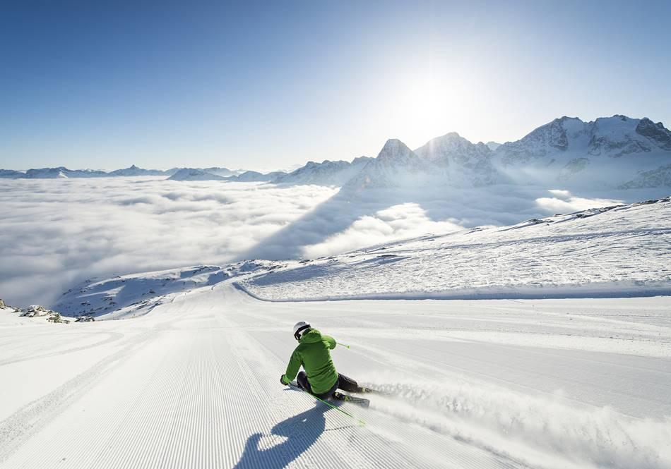 Skifahrer in Corvatsch