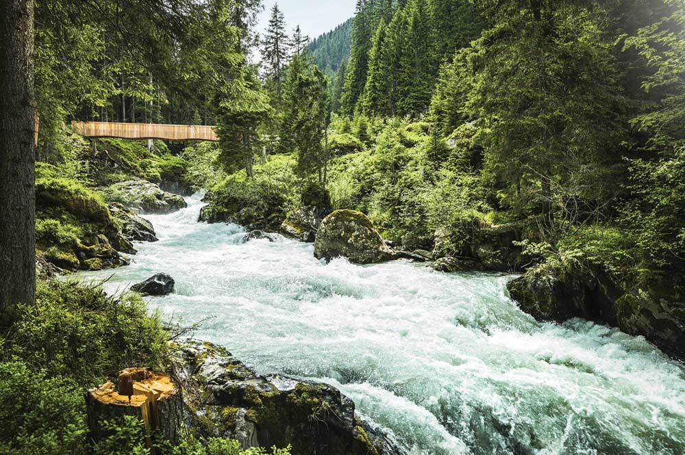 Bach mit Brücke am WildeWasserWeg