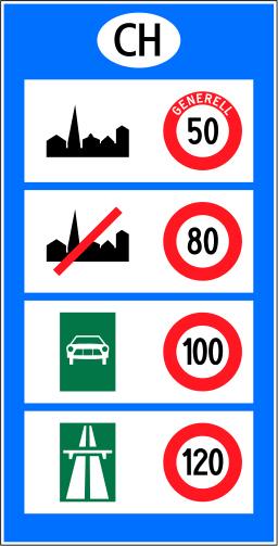 Verkehrsschild in der Schweiz