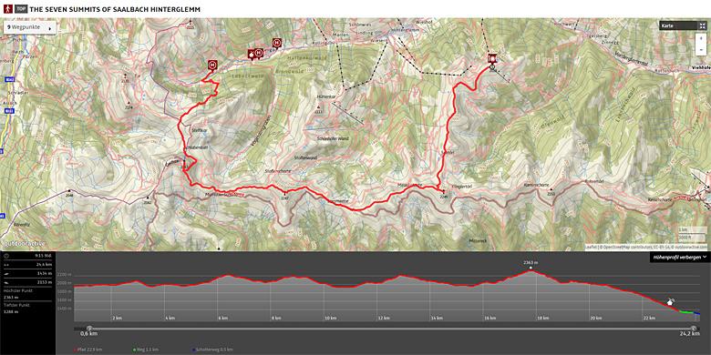 Karte der Seven Summits of Saalbach Hinterglemm