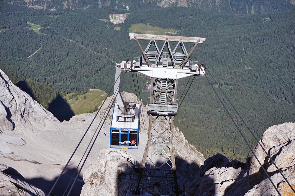 Blick von der Zugspitze auf die Gondel der Zugspitzbahn und das Tal