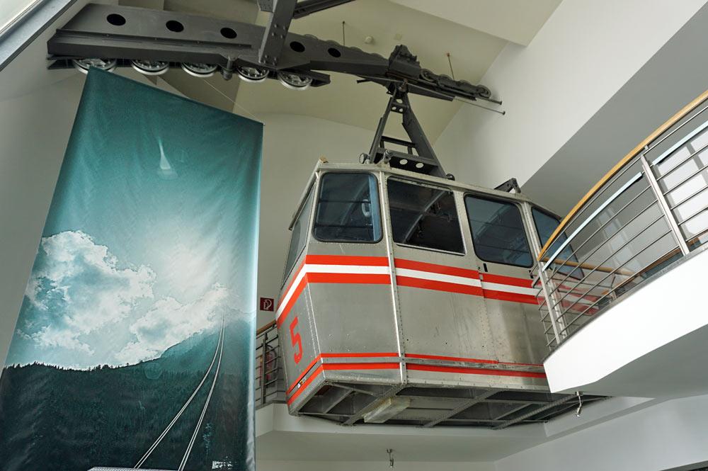 Gondel aus den 60er Jahren im Erlebnismuseum Zugspitze