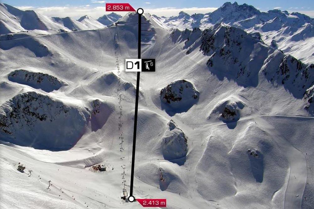 Visualisierung des Streckenverlaufs der Palinkopfbahn Ischgl