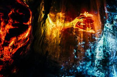 Lichtfiguren bei Light Ragaz in der Taminaschlucht