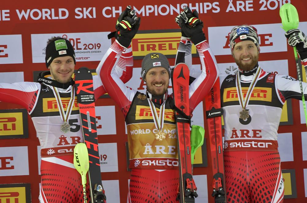 Drei Österreicher auf dem Podium vom Slalom in Are 2019
