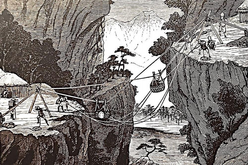 Zeichnung einer frühe Seilbahn in Japan vor über 1000 Jahren
