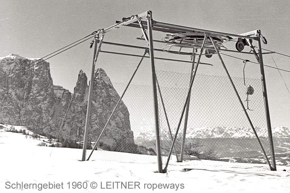 Schlepplift im Schlerngebiet im Jahr 1960