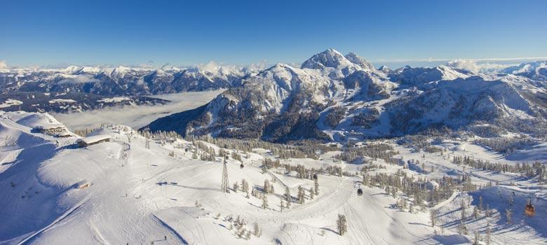 Blick ins Skigebiet Nassfeld