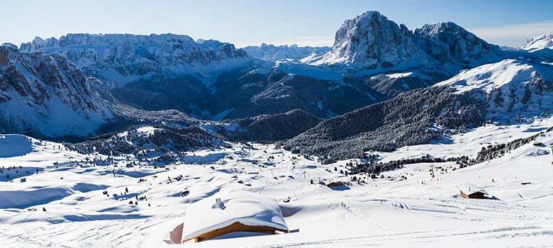 Blick ins Skigebiet Gröden