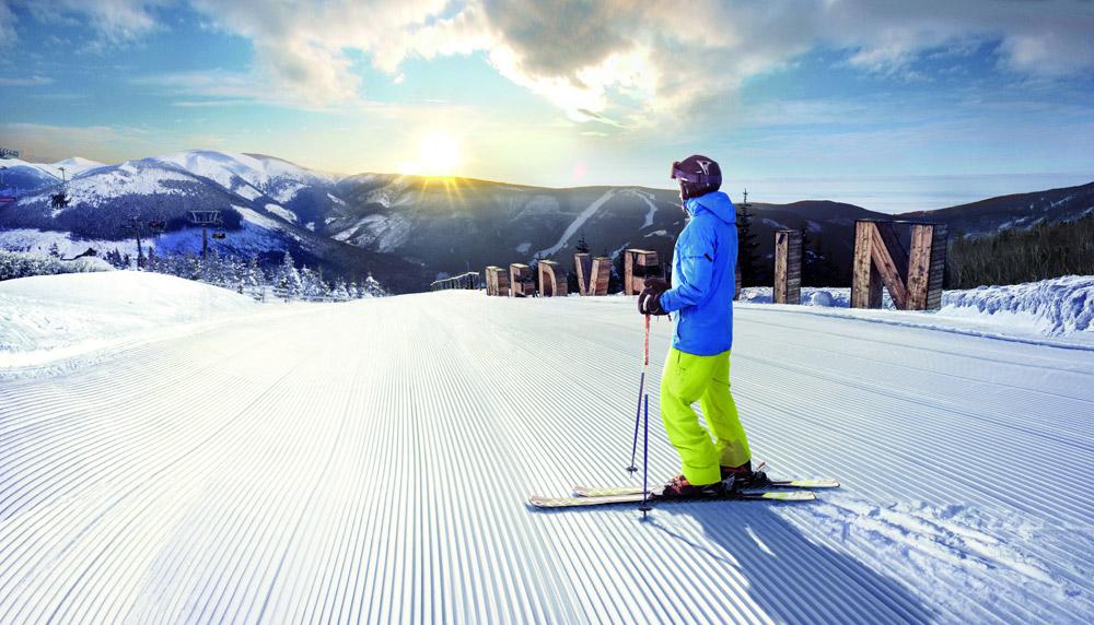 Skifahrer im Riesengebirge