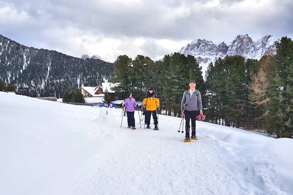 Auf der 7,5 km langen Schneeschuhwanderung auf der Plose mit unserem Wanderführer Herbert
