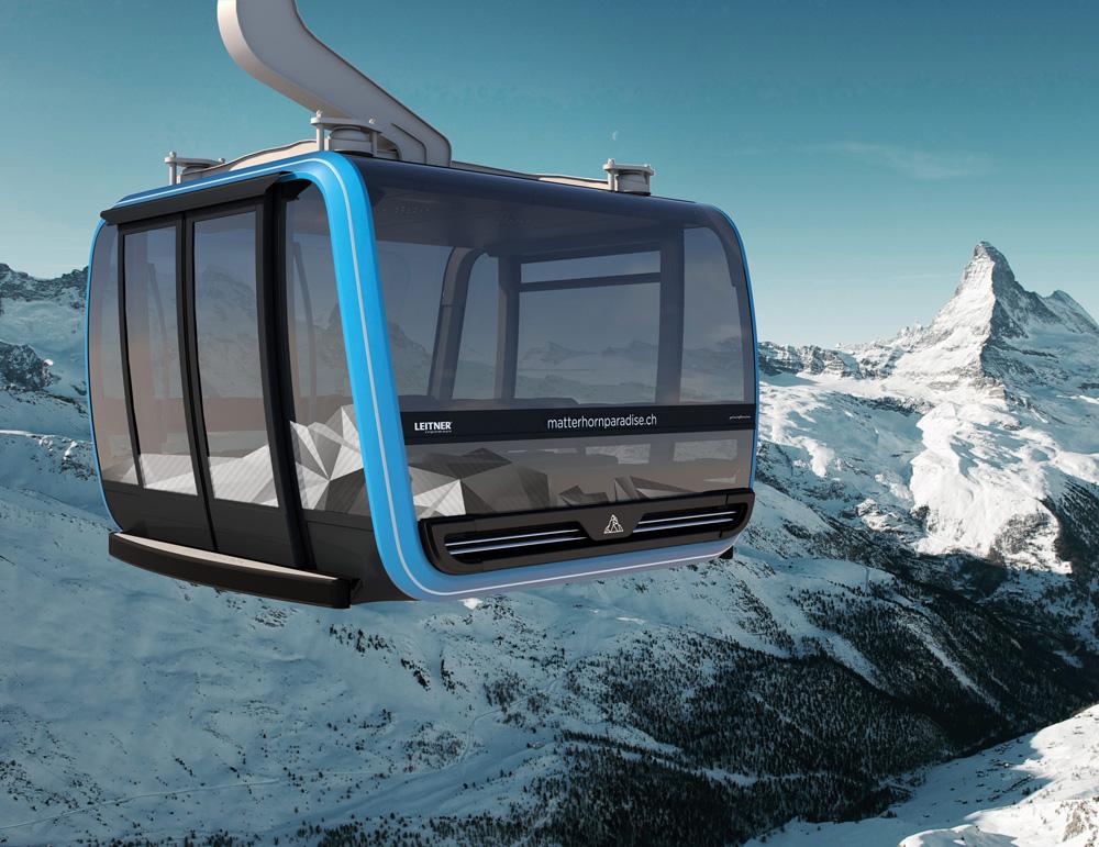 Gondel der neu geplanten Seilbahn aufs Klein Matterhorn