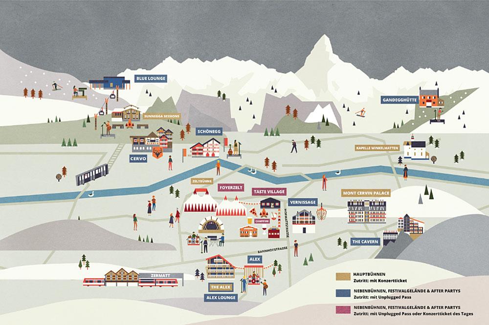 Festivalplan Zermatt Unplugged 2019