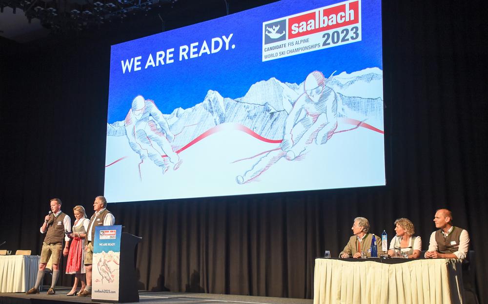 Präsentation von Saalbach bei der Vergabe der Ski WM 2023