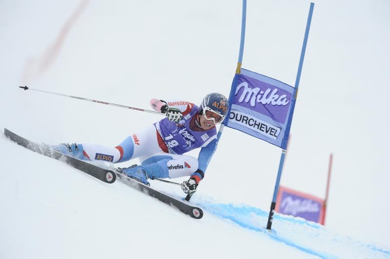 Skirennfahrerin in Courchevel