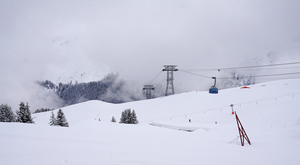 Skigebiet Arosa Lenzerheide an der Mittelstation Weissfluh