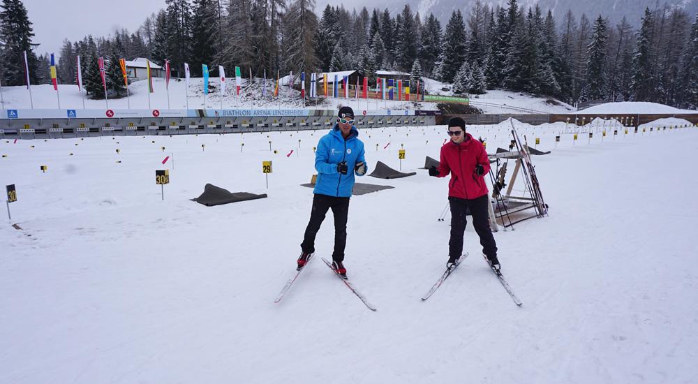 Klatschübung beim Langlaufkurs in der Biathlon Arena Lenzerheide